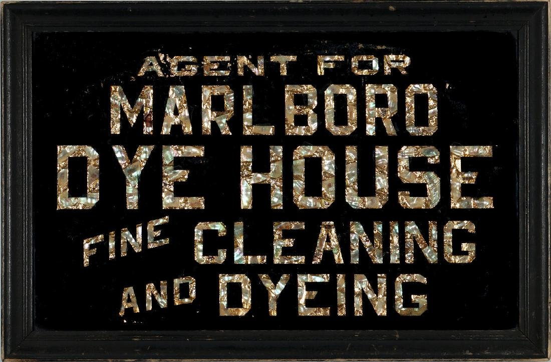 1920s REVERSE PAINTED AND ABALONE ADVERTISING SIGN