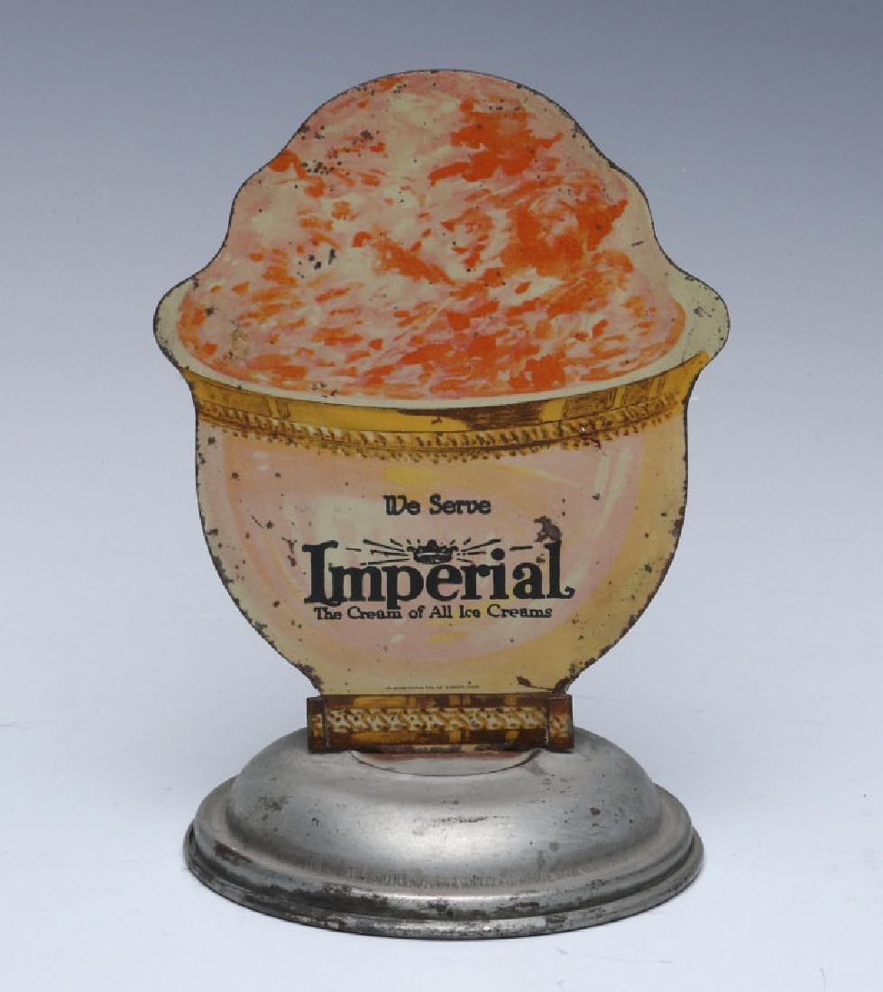 IMPERIAL ICE CREAM DIE-CUT SODA FOUNTAIN SIGN 1920