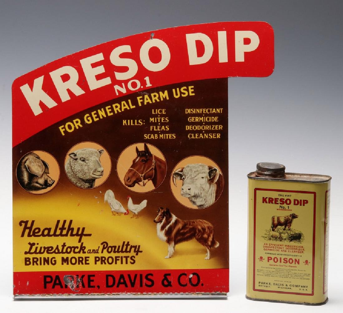 A KRESO DIP LITHOGRAPHED TIN SIGN AND PRODUCT TIN