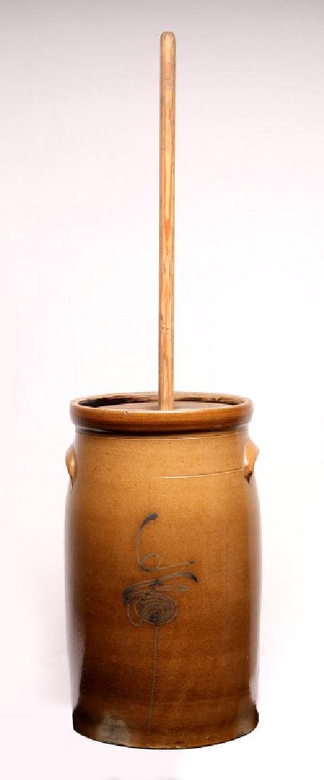 A GOOD MID-WESTERN COBALT DECORATED BUTTER CHURN