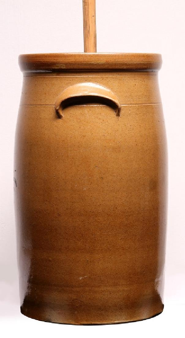A GOOD MID-WESTERN COBALT DECORATED BUTTER CHURN - 5