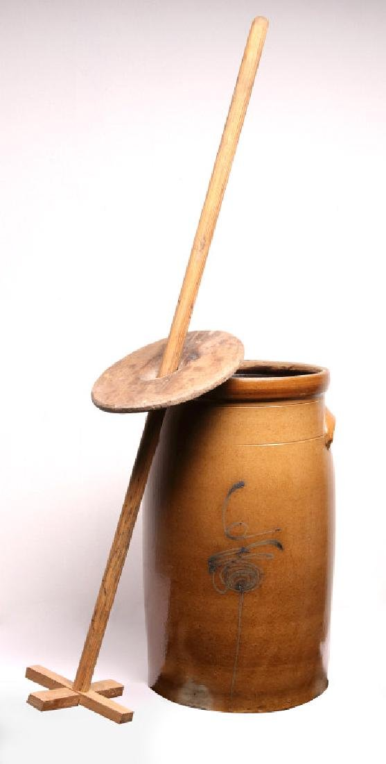 A GOOD MID-WESTERN COBALT DECORATED BUTTER CHURN - 9