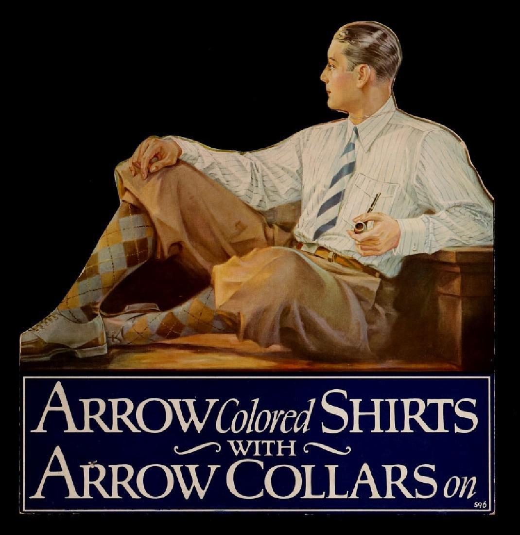 A CIRCA 1920 ARROW COLLARS DIE-CUT EASEL BACK SIGN