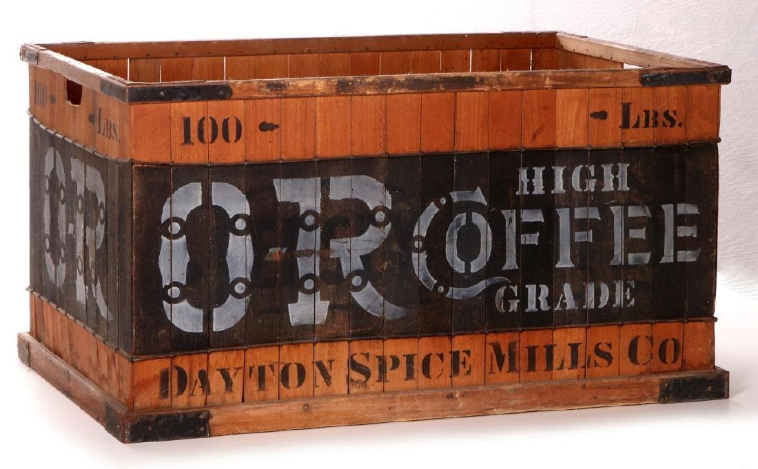 A CIRCA 1900 OR HIGH GRADE COFFEE WAREHOUSE CRATE