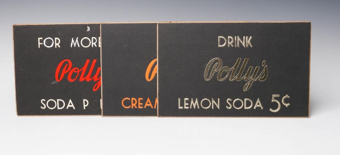 THREE RARE POLLY'S POP SODA ADVERTISING PLACARDS