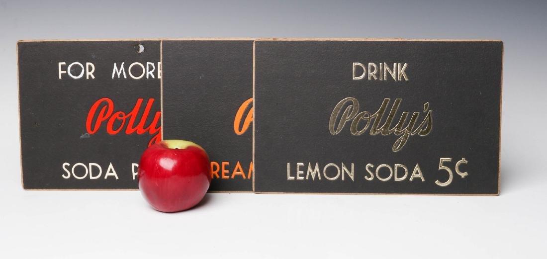 THREE RARE POLLY'S POP SODA ADVERTISING PLACARDS - 2