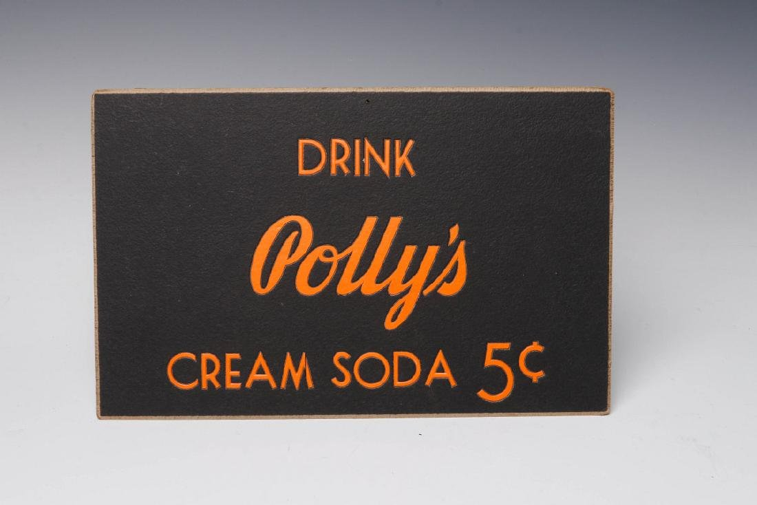 THREE RARE POLLY'S POP SODA ADVERTISING PLACARDS - 3