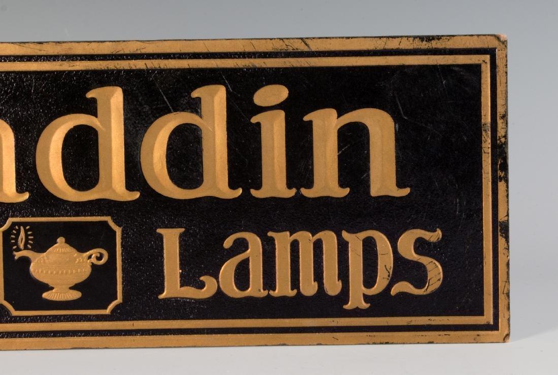 VINTAGE EASEL BACK SIGN FOR ALADDIN QUALITY LAMPS - 3
