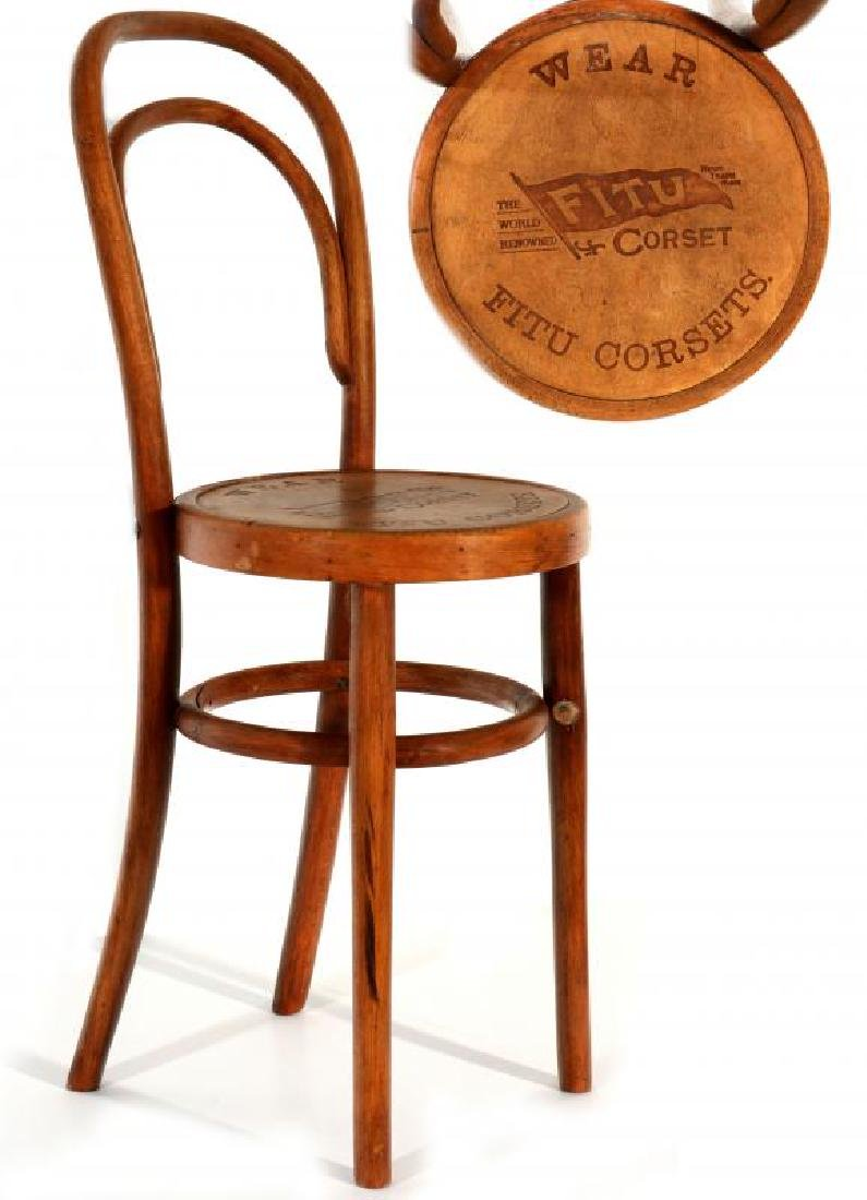 A 1900s 'FITU' CORSETS ADVERTISING BENTWOOD CHAIR