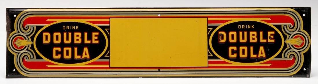 AN ART DECO DOUBLE COLA EMBOSSED TIN SIGN