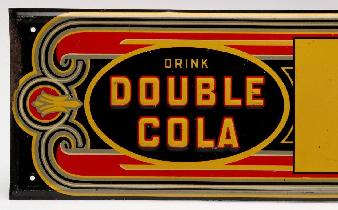 AN ART DECO DOUBLE COLA EMBOSSED TIN SIGN - 2