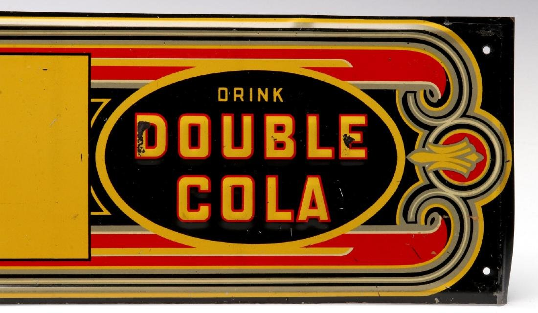 AN ART DECO DOUBLE COLA EMBOSSED TIN SIGN - 4