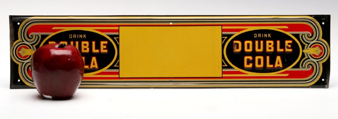 AN ART DECO DOUBLE COLA EMBOSSED TIN SIGN - 5