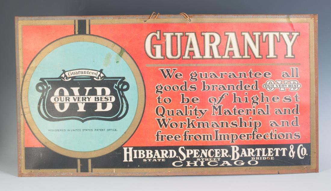 HIBBARD SPENCER BARTLETT SELF-FRAMED SIGN