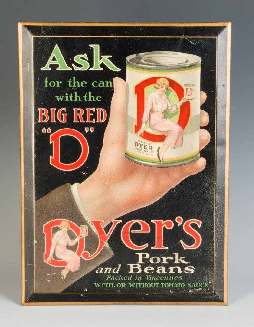 A GOOD DYER'S BEANS SELF-FRAMED TIN SIGN C. 1925