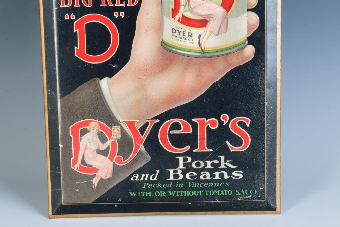 A GOOD DYER'S BEANS SELF-FRAMED TIN SIGN C. 1925 - 3
