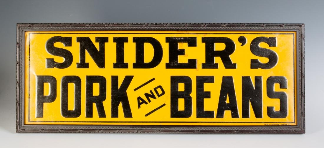 A NICE EMBOSSED TIN SIGN,SNIDER'S PORK AND BEANS