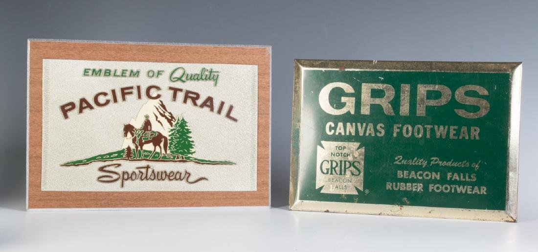 TWO VINTAGE COUNTERTOP ADVERTISING SIGNS