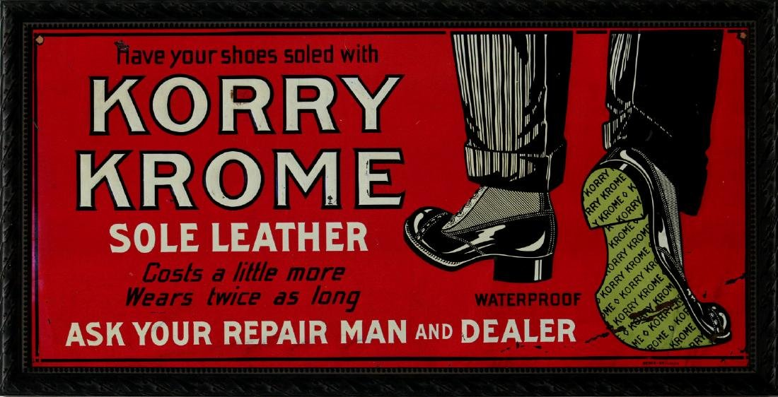 A CIRCA 1930 KORRY KROME SOLE LEATHER TIN SIGN