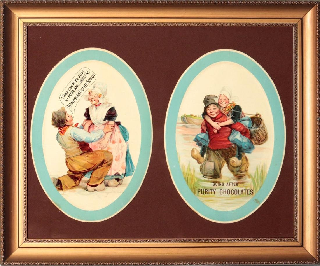 TWO CIRCA 1890 CANDY ADVERTISING PLACARDS
