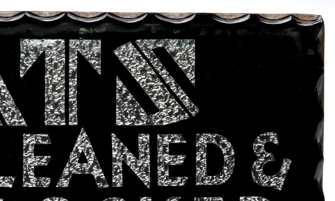AN ART DECO FOIL BACK SIGN -HATS CLEANED & BLOCKED - 4
