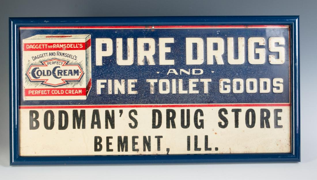 AN EARLY 20TH CENTURY COLD CREAM ADVERTISING SIGN