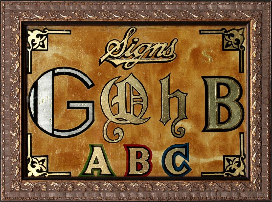 TWO REVERSE PAINTED SIGN PAINTERS SAMPLERS