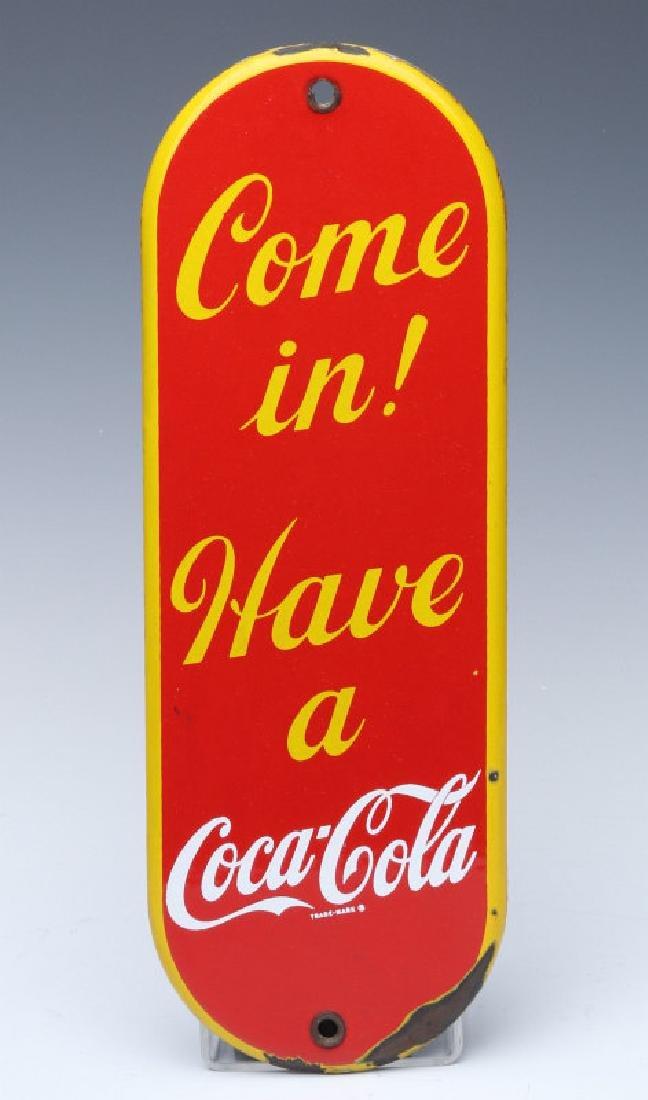 A CIRCA 1950 COCA-COLA PORCELAIN ENAMEL DOOR PUSH