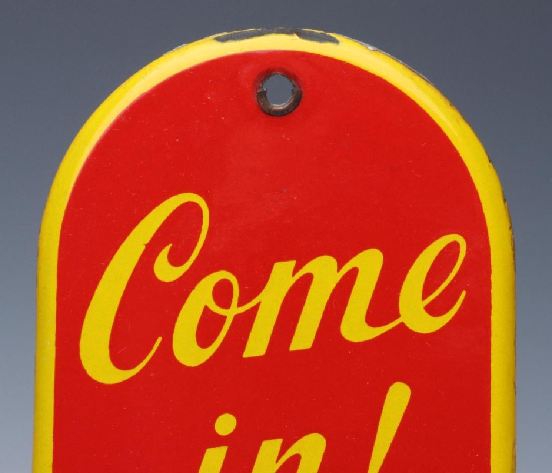 A CIRCA 1950 COCA-COLA PORCELAIN ENAMEL DOOR PUSH - 2