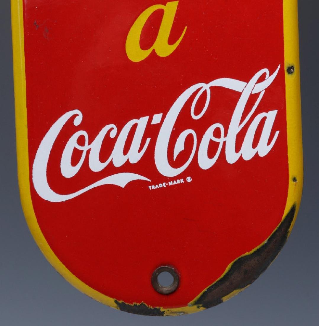 A CIRCA 1950 COCA-COLA PORCELAIN ENAMEL DOOR PUSH - 3