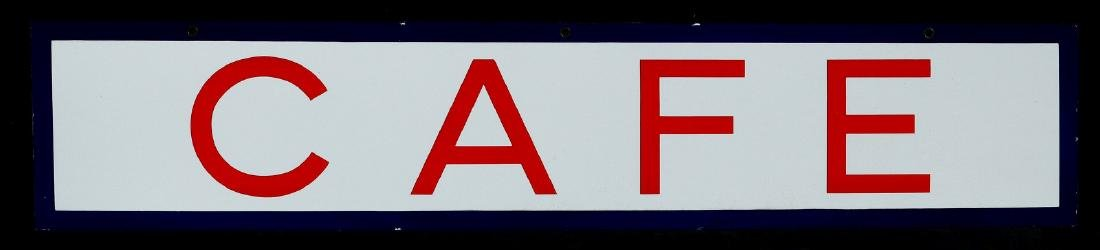 A RED, WHITE AND BLUE - CAFE - PORCELAIN SIGN