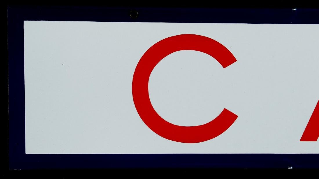 A RED, WHITE AND BLUE - CAFE - PORCELAIN SIGN - 2