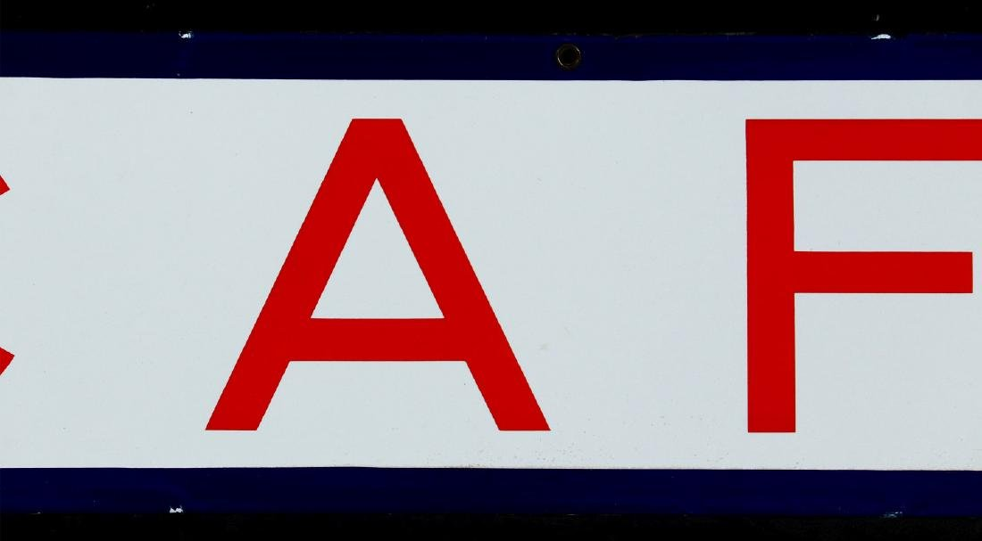 A RED, WHITE AND BLUE - CAFE - PORCELAIN SIGN - 3