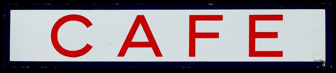A RED, WHITE AND BLUE - CAFE - PORCELAIN SIGN - 5