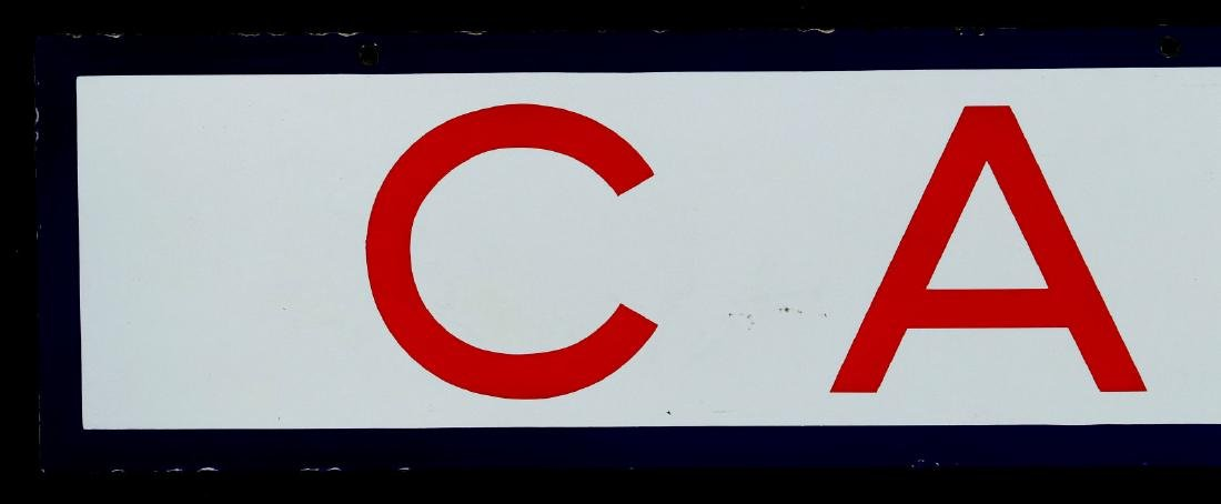 A RED, WHITE AND BLUE - CAFE - PORCELAIN SIGN - 6