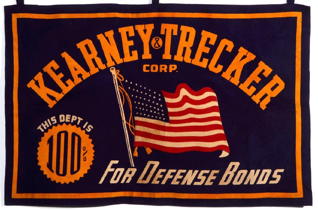 A WORLD WAR II FELT PENNANT FOR DEFENSE BONDS