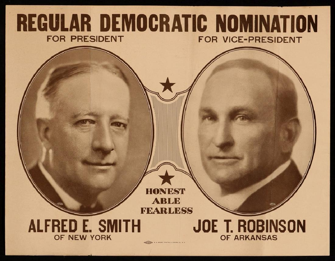 1928 CAMPAIGN POSTER ALRED SMITH AND JOE ROBINSON