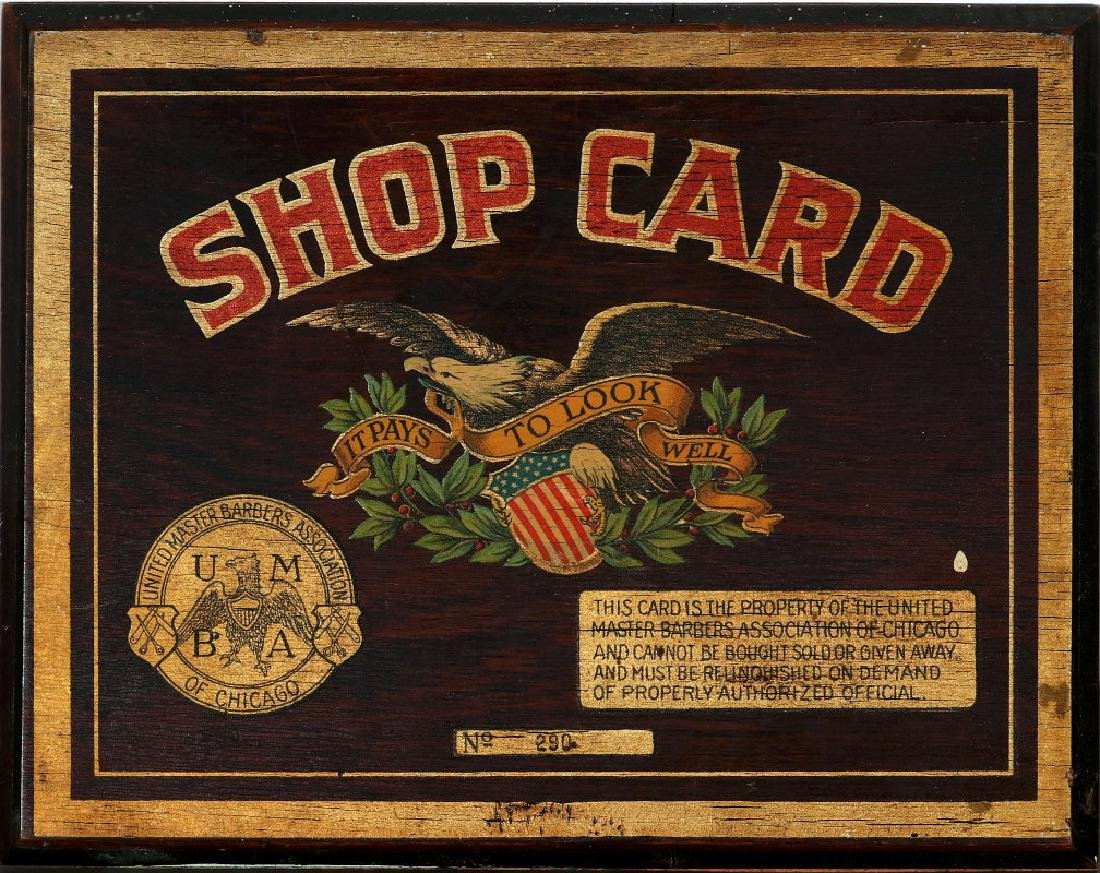 UNITED MASTER BARBERS SHOP CARD W/ AMERICAN EAGLE