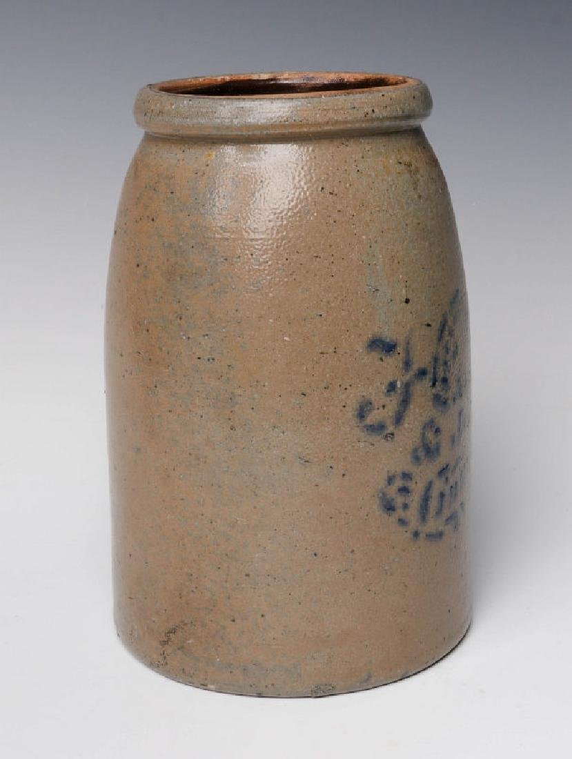 A 19TH C. STONEWARE CANNING JAR WITH ADVERTISING - 2