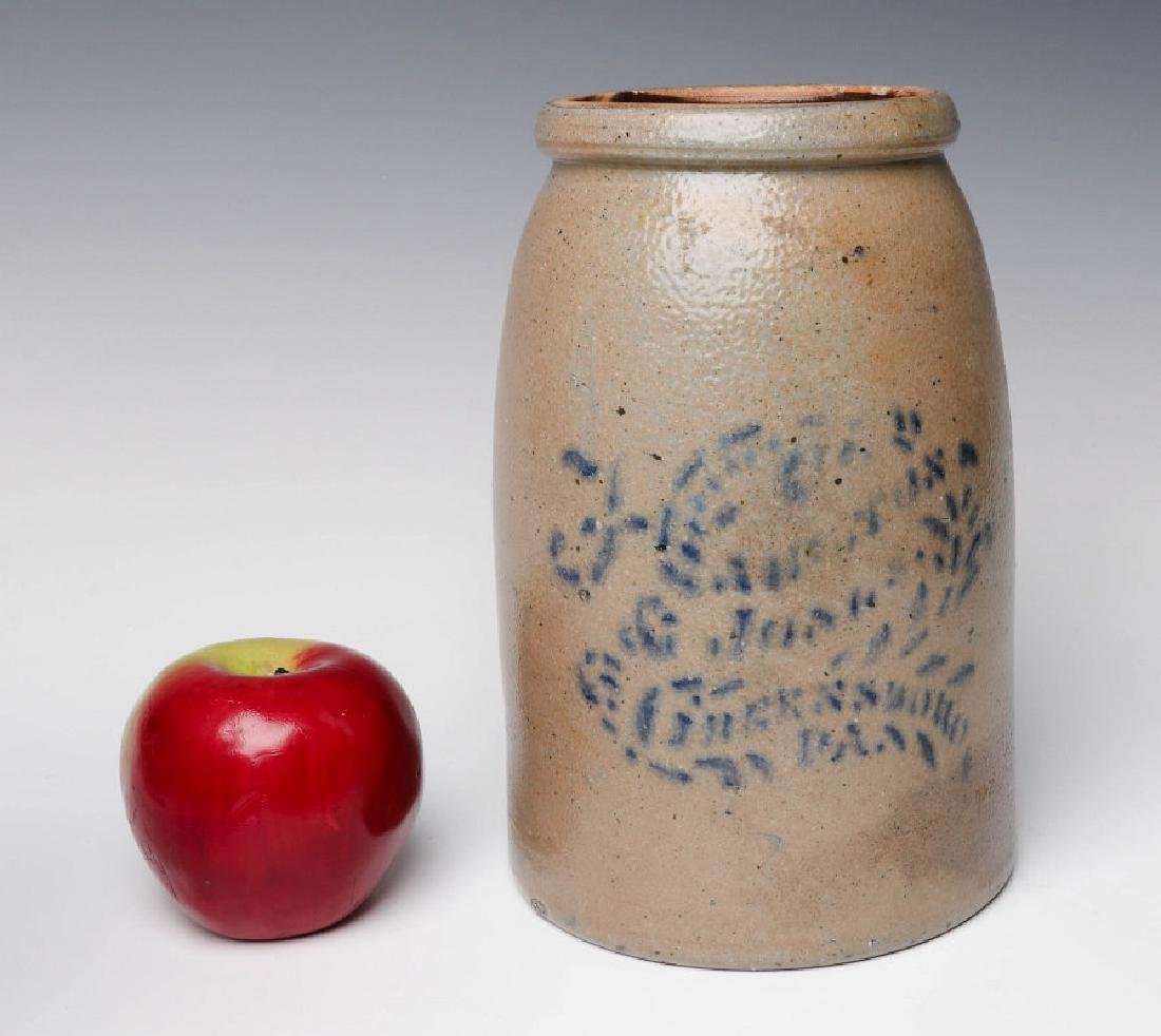 A 19TH C. STONEWARE CANNING JAR WITH ADVERTISING - 6