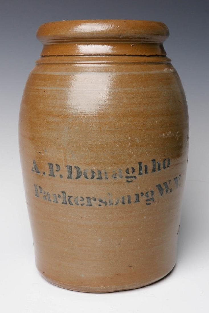 A 19TH C. STONEWARE CANNING JAR WITH ADVERTISING
