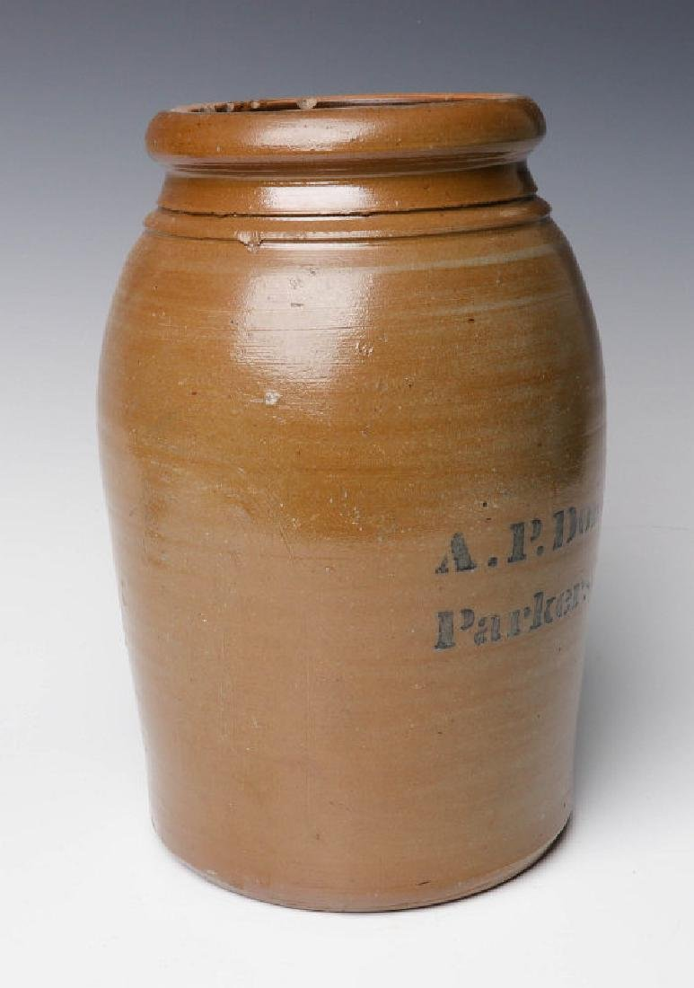 A 19TH C. STONEWARE CANNING JAR WITH ADVERTISING - 4