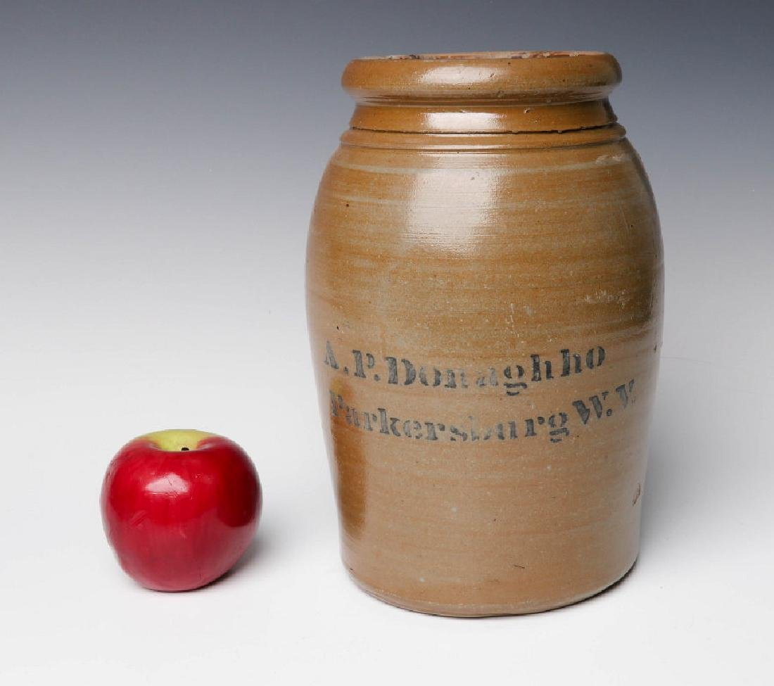 A 19TH C. STONEWARE CANNING JAR WITH ADVERTISING - 5