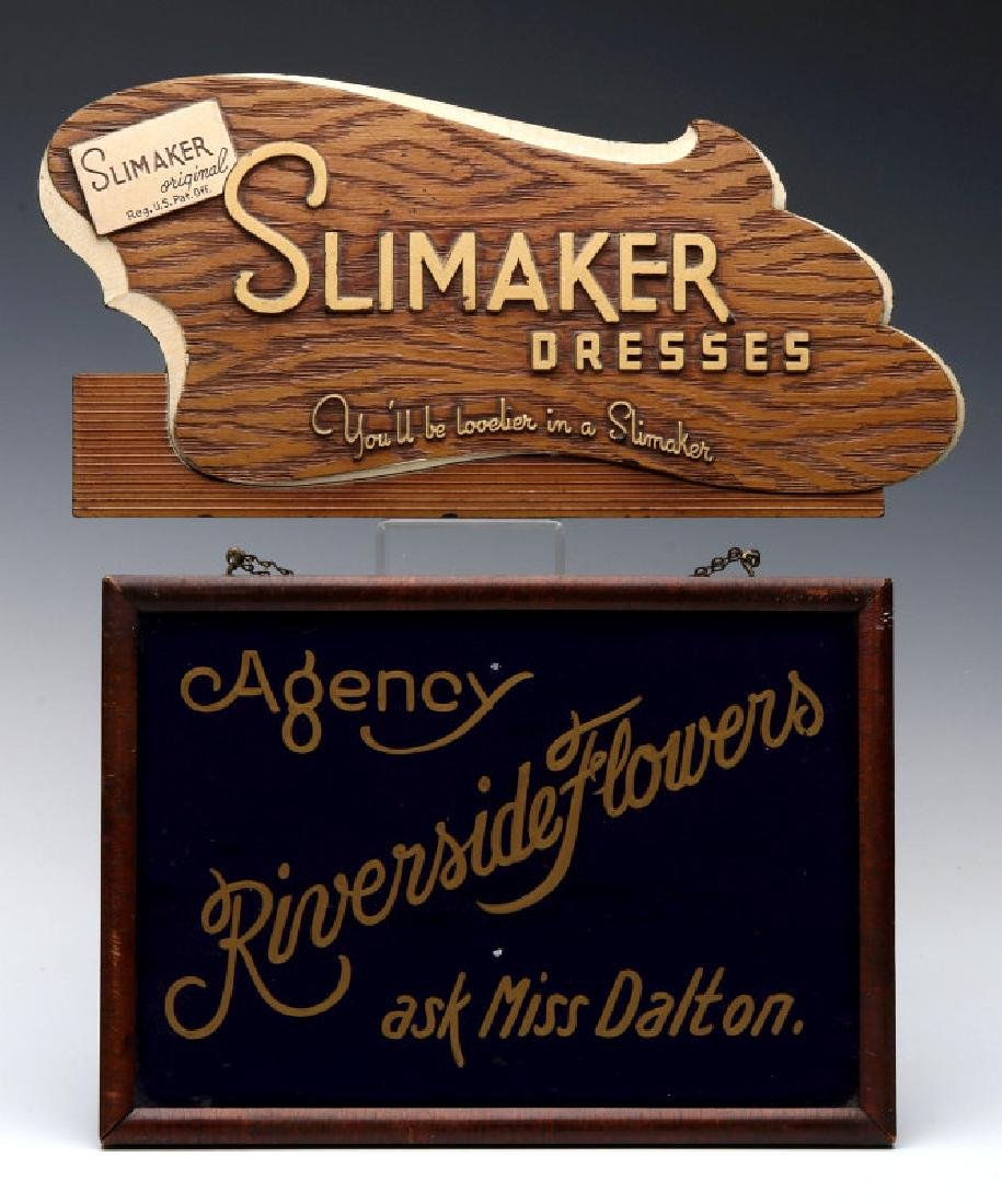TWO SMALL 1930S ADVERTISING SIGNS