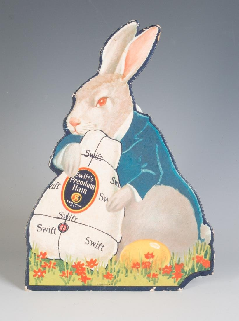 DIE-CUT EASTER BUNNY SIGN ADVERTISING SWIFT'S HAM