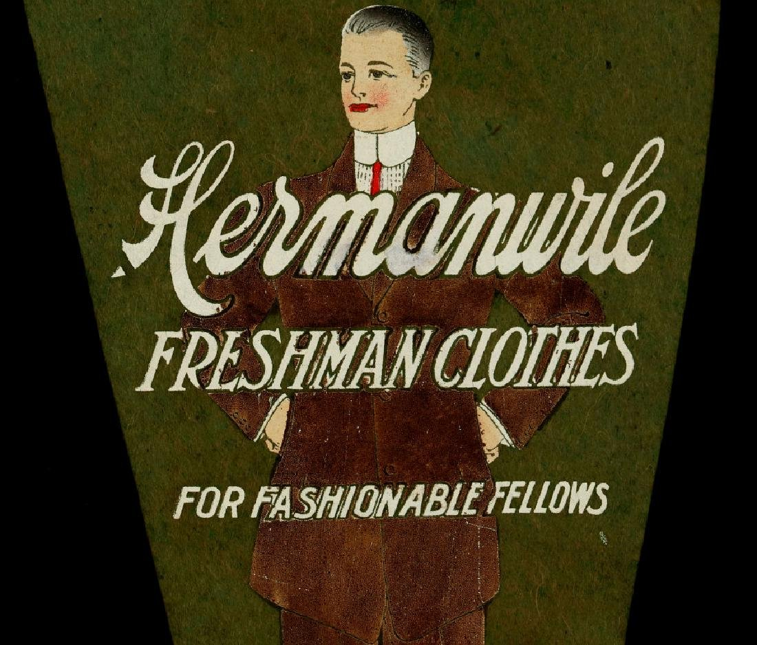 A 1910s HERMANWILE CLOTHING ADVERTISING PENNANT