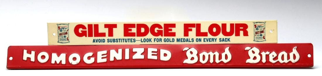 BOND BREAD AND GILT EDGE FLOUR TIN SHELF SIGNS