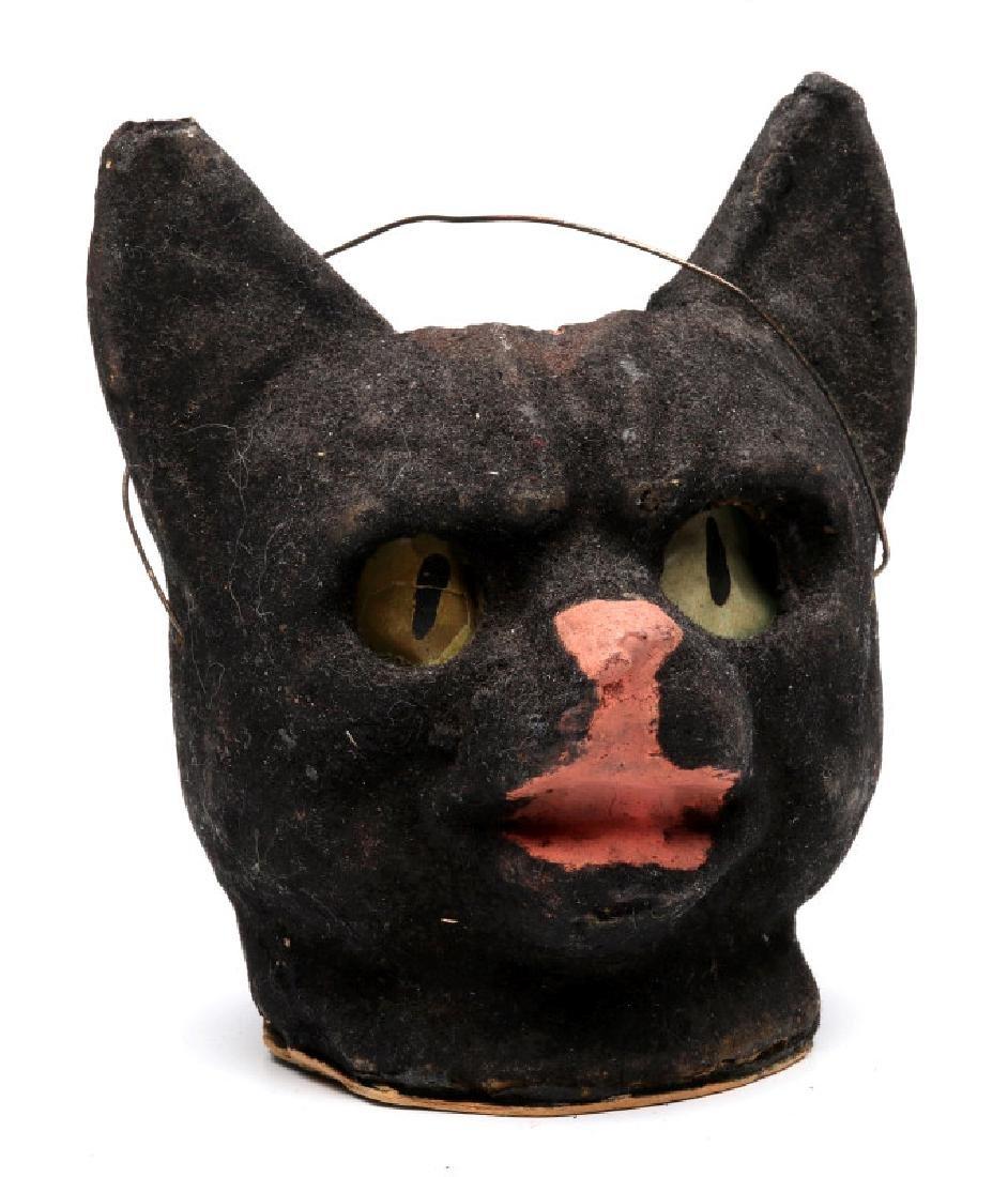 A VINTAGE PRESSED PAPER HALLOWEEN CAT LANTERN