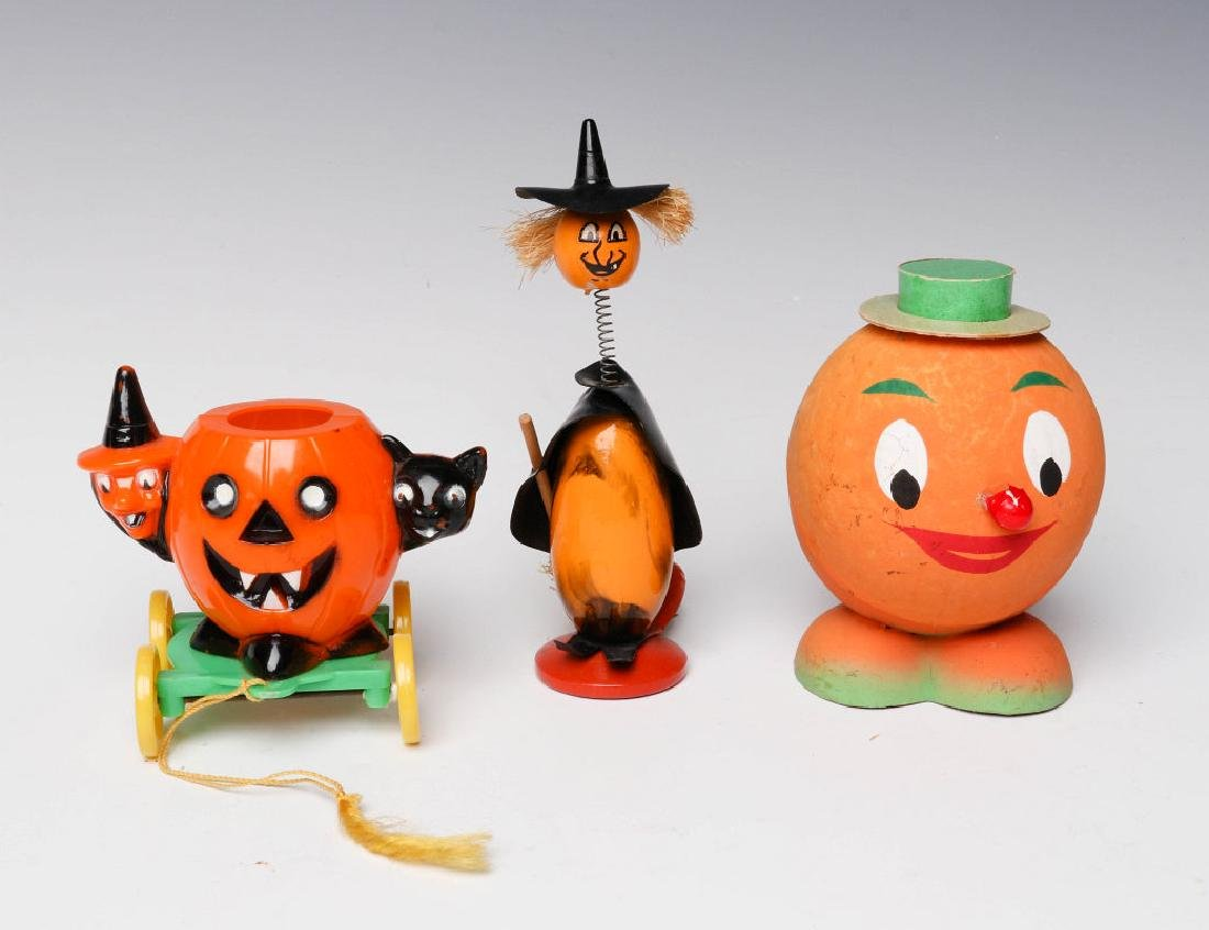 VINTAGE HALLOWEEN CANDY CONTAINERS AND NOISE MAKER