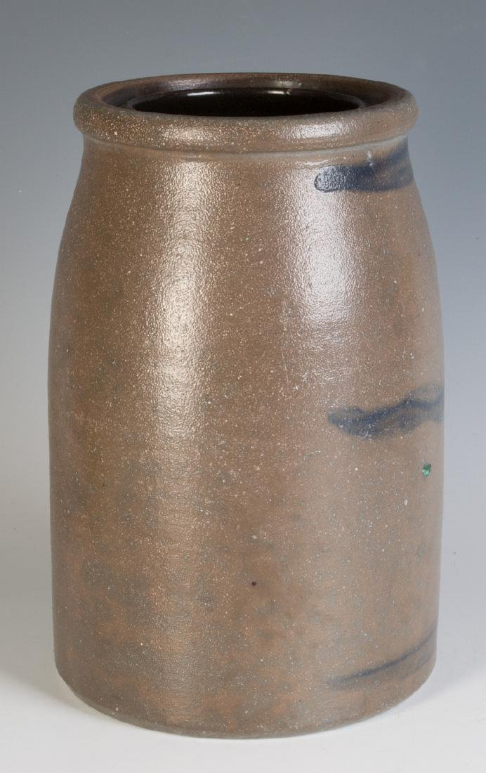 A 19TH C. BLUE DECORATED STONEWARE CANNING JAR - 4